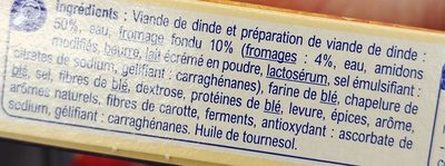 Cordons Bleus de dinde (x 2) - Ingredients