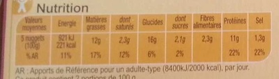 Nuggets de Poulet - Voedingswaarden