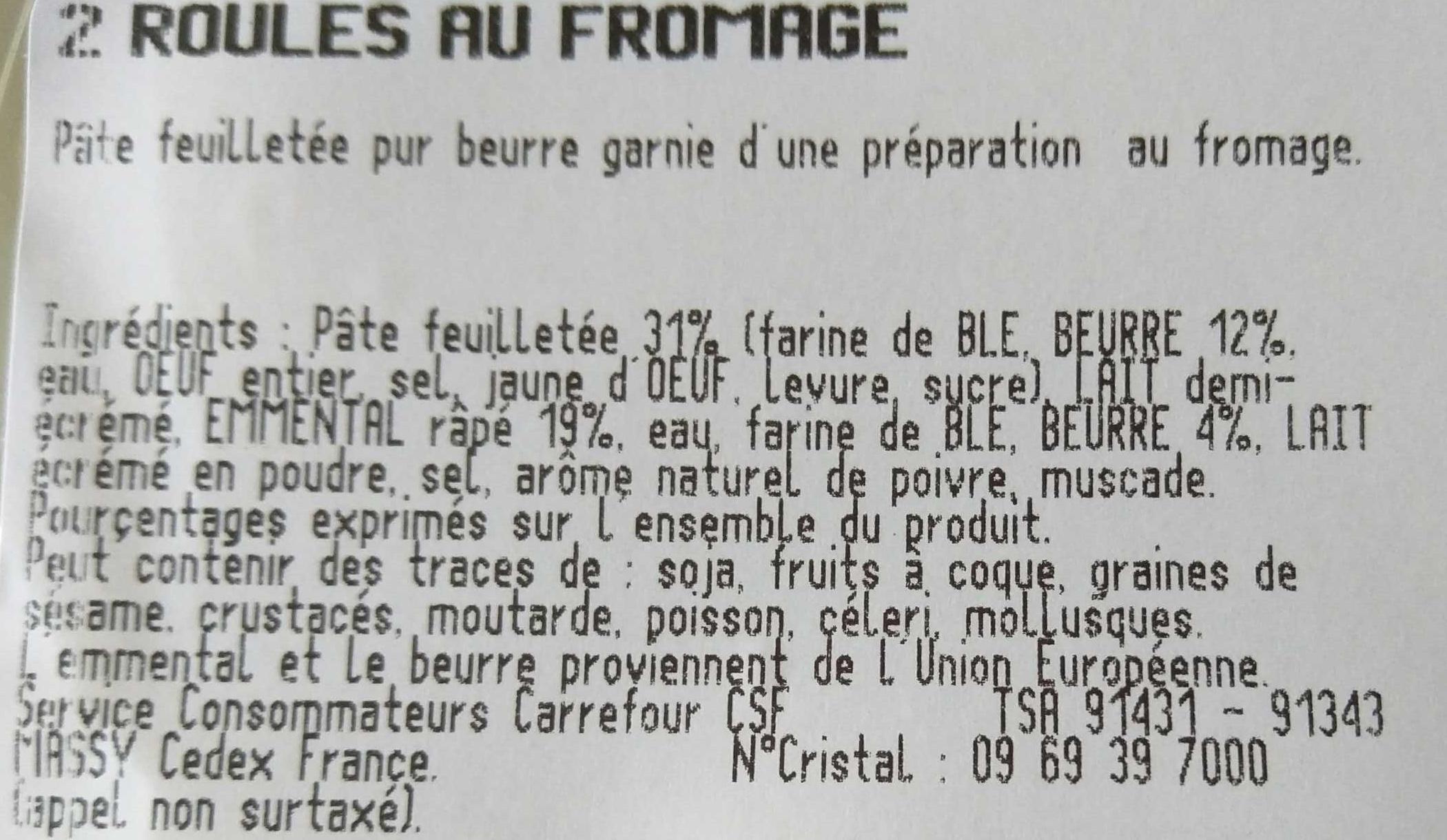 Roulé au fromage - Ingrédients - fr