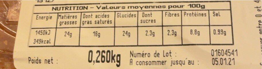 Roulé au fromage - Informations nutritionnelles - fr