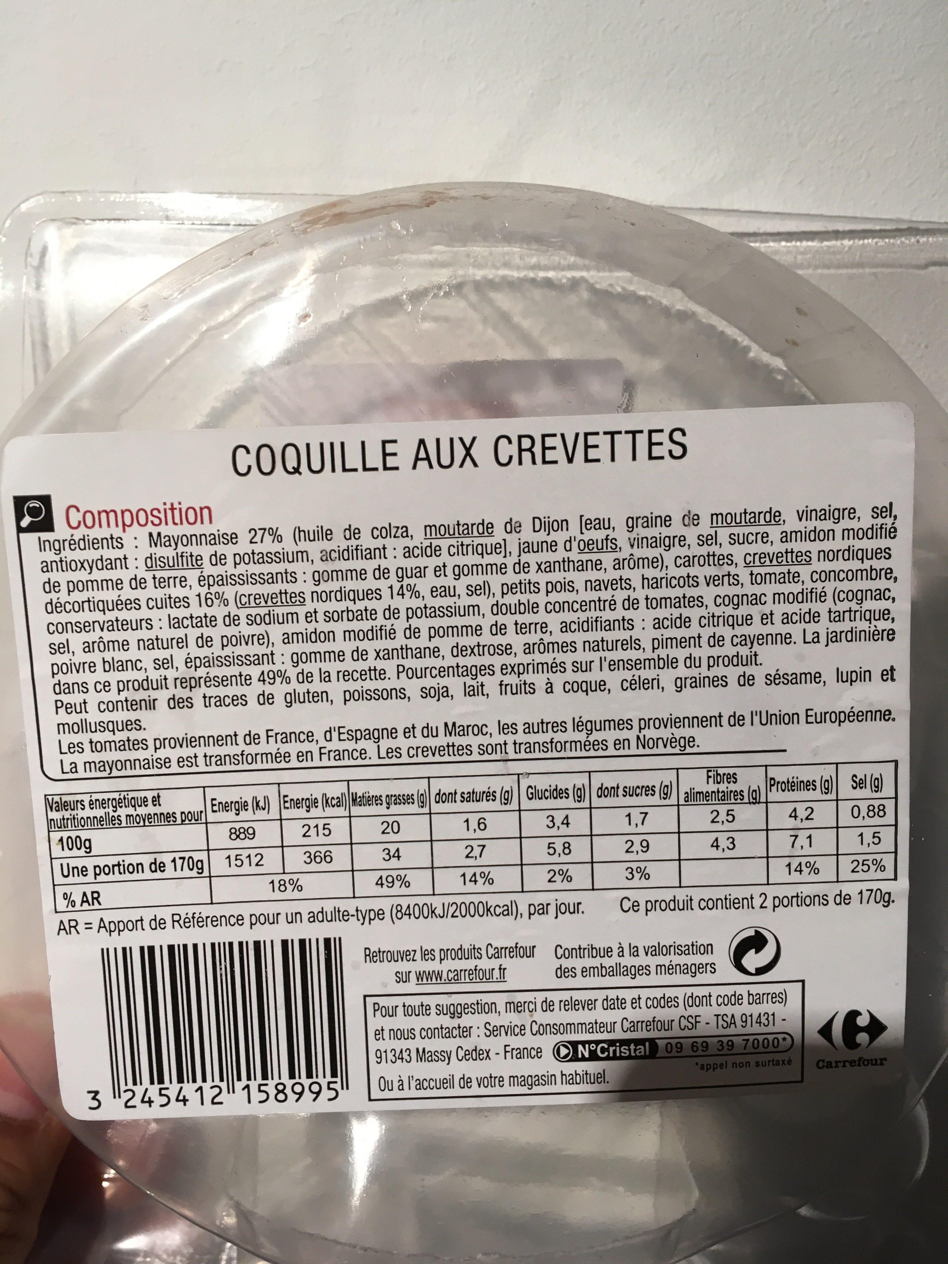 coquilles aux crevettes - carrefour