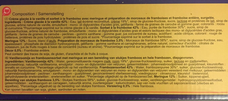 Le vacherin Vanille Framboise - Información nutricional - fr