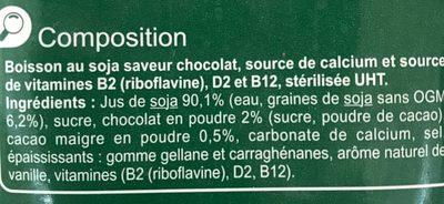 Boisson au Soja chocolat - Ingredients - fr