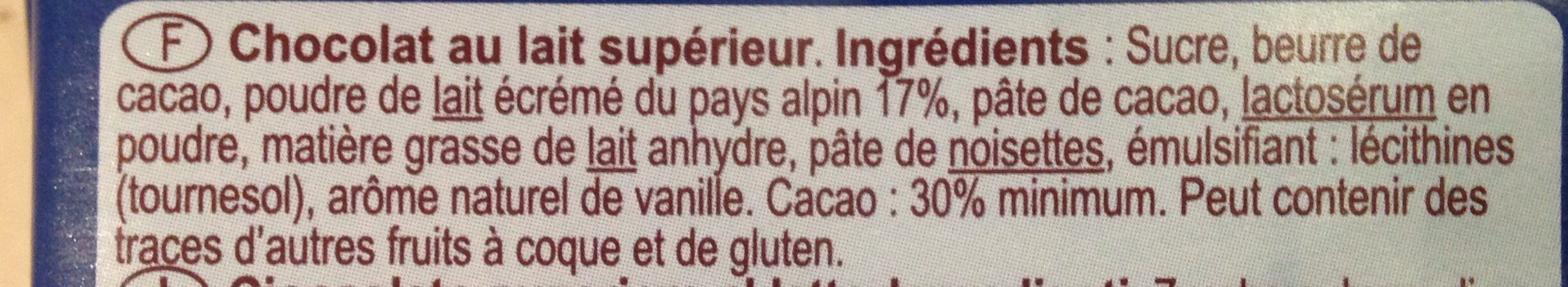Chocolat Au Lait Du Pays Alpin - Ingredients - fr