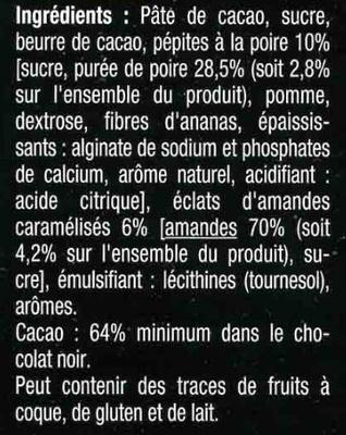 Noirpépitessaveur poire - Ingrédients