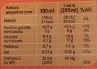 Orange 100 % Pur Fruit Pressé - Voedigswaarden