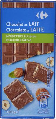Chocolat au lait noisettes entières - Product - fr