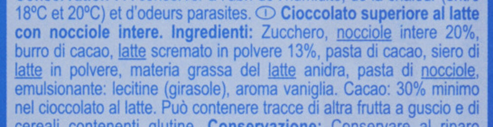 Chocolat au LAIT - Ingredienti - it