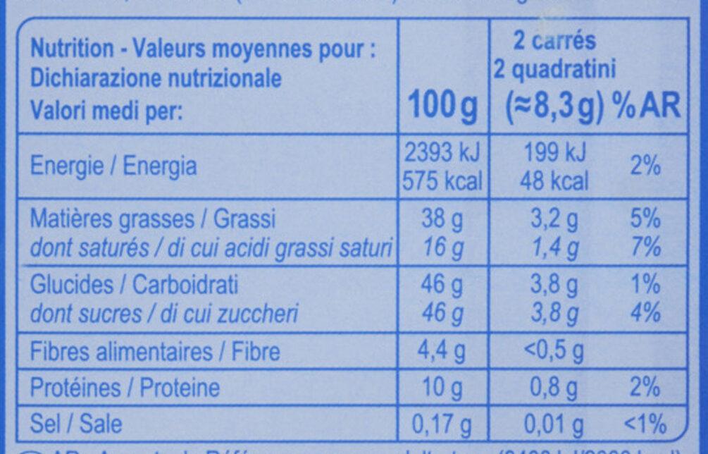 Chocolat au lait noisettes entières - Nutrition facts - fr