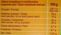 Chocolat Lait Noisettes - Nutrition facts