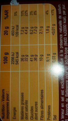 Corsé chocolat dessert - Informations nutritionnelles - fr