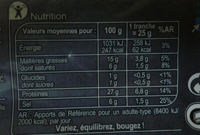 Jambon sec  Qualité supérieure - Valori nutrizionali - fr