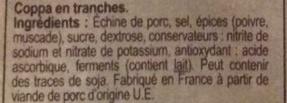 Coppa 10 tranches - Ingrediënten