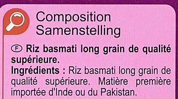 Basmati - Ingredienti - fr