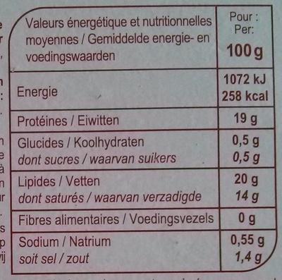 Camembert de caractère (20 % MG) - Voedingswaarden - fr