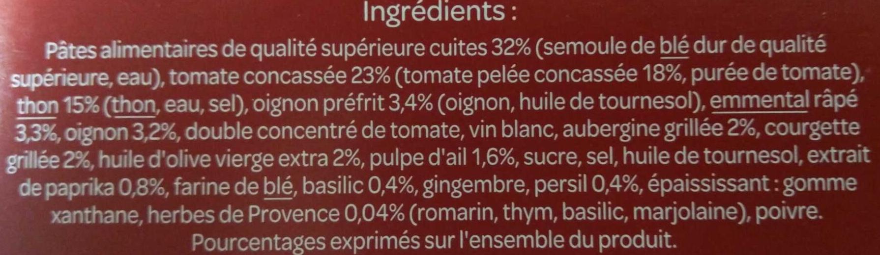 Gratin de macaroni aux légumes et au thon A l'emmental râpé - Ingredients