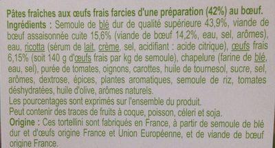 Pâte fraîches aux œufs frais farcies d'une préparation au bœuf - Ingrédients - fr