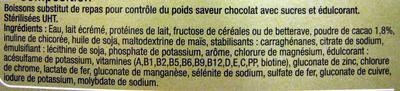 Milk-Shake substitut de repas, saveur chocolat (x 3) - Ingredients - fr