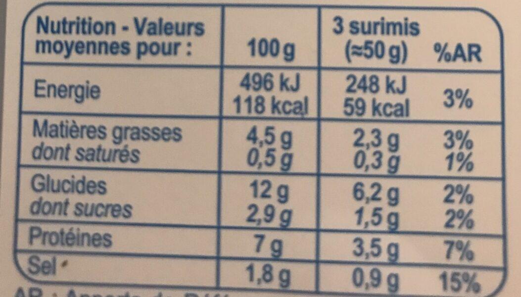 Surimi tendre - Nutrition facts - fr