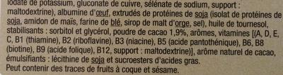 Barres substituts de repas Goût chocolat - Ingrédients - fr