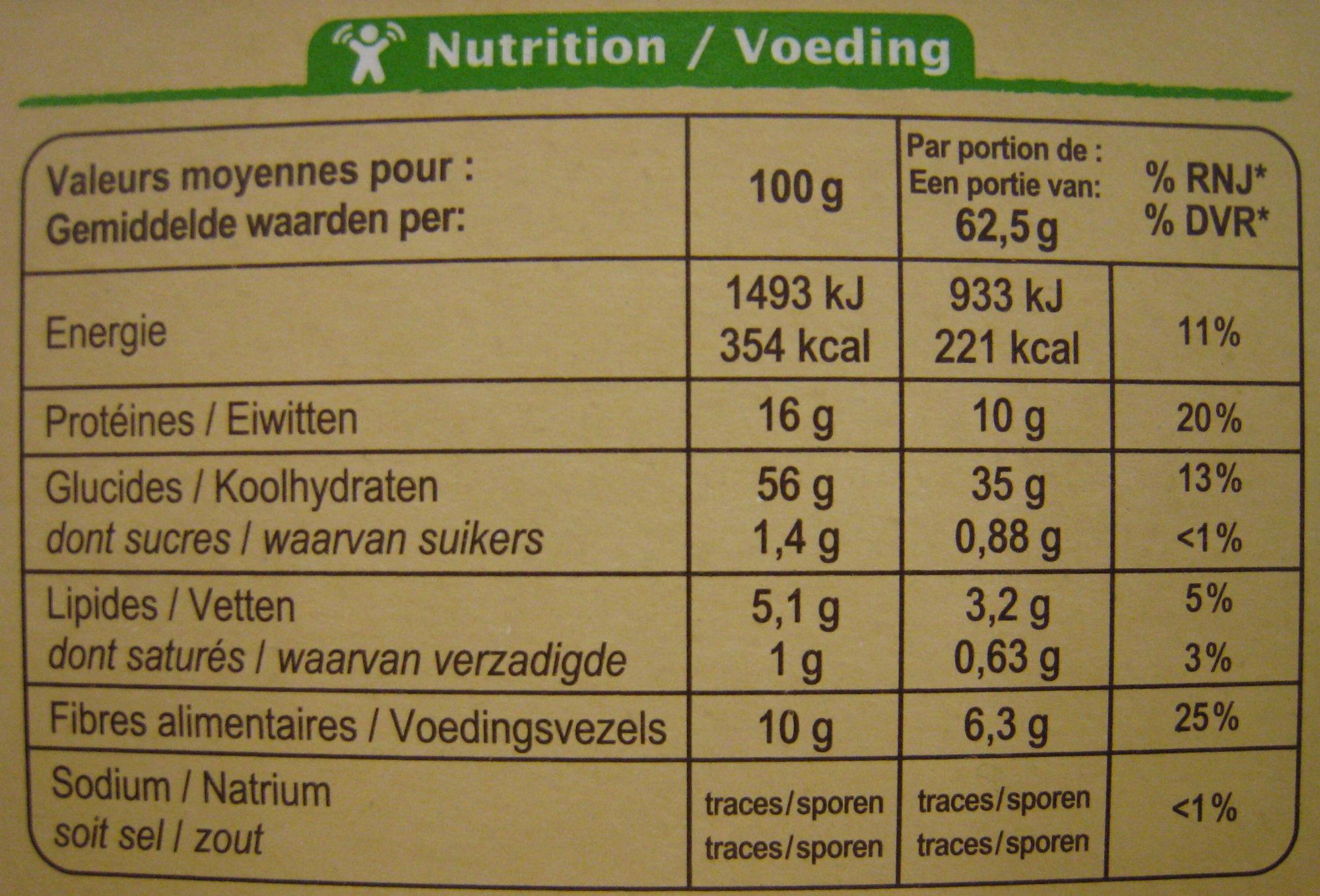 Mélange de riz, soja et lentilles Bio - 250 g - Carrefour - Voedingswaarden - fr