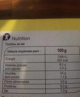 Kit Burritos - Valori nutrizionali - fr