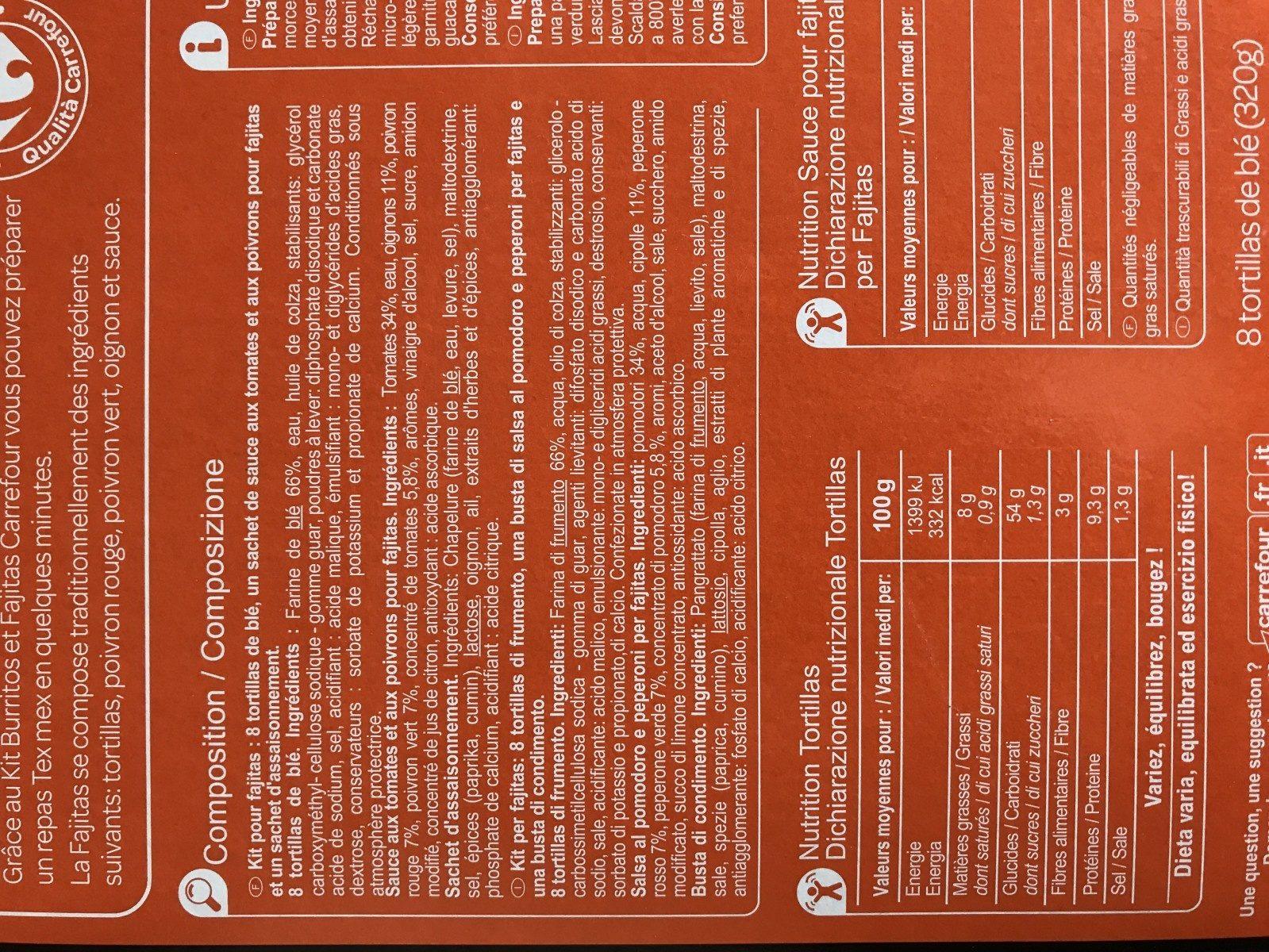 Kit fajitas - Ingredients