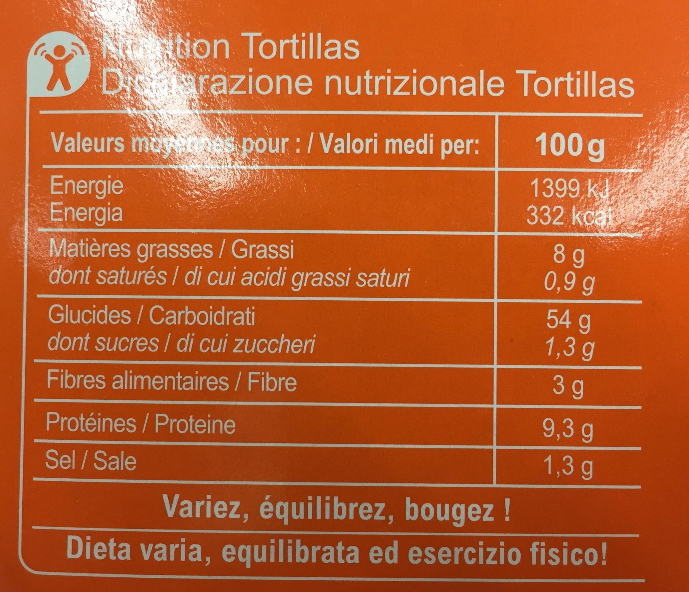 Kit fajitas - Nutrition facts