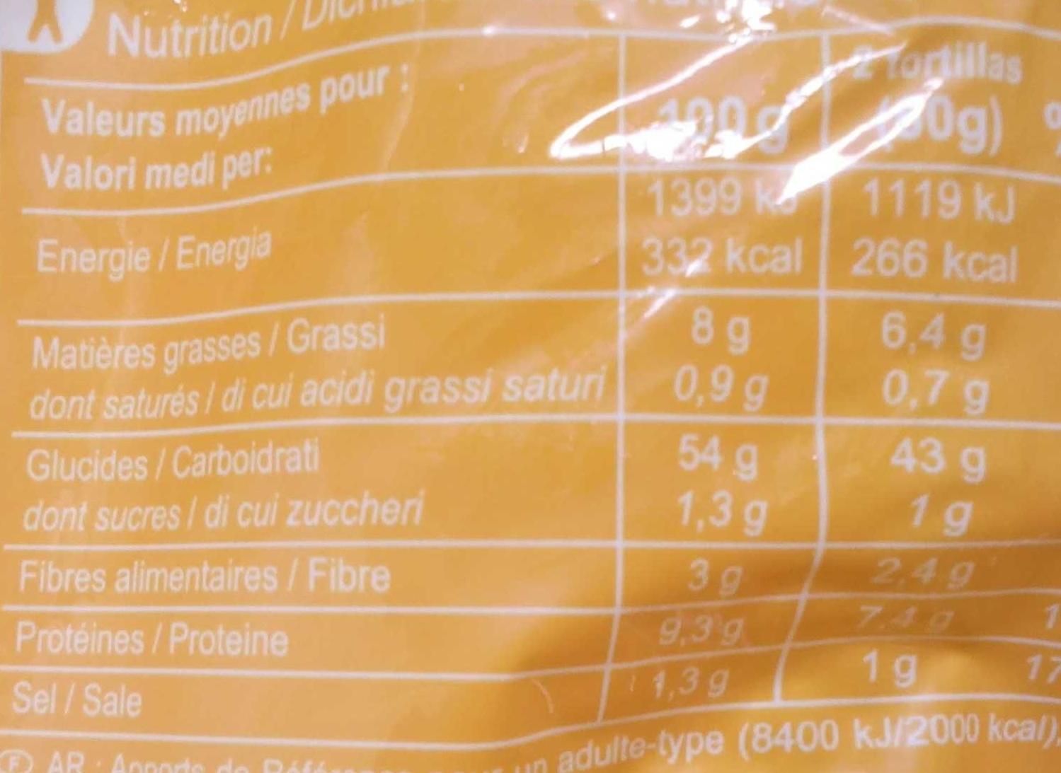 Tortillas de blé - Nutrition facts