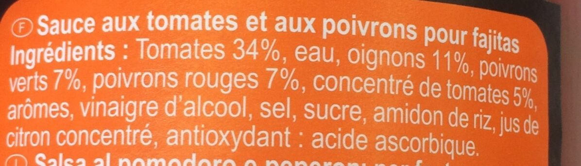 Salsa fajitas - Ingrédients - fr