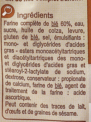 Pain de mie grandes tranches - Ingredients - fr