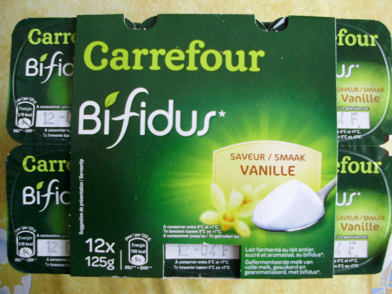 bifidus saveur vanille 12 x 125 g carrefour 1 5 kg. Black Bedroom Furniture Sets. Home Design Ideas