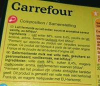 Yaourt bifidus vanille - Ingrédients - fr
