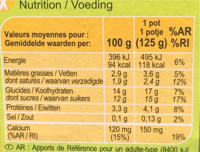 Yaourt bifidus vanille - Informations nutritionnelles - fr