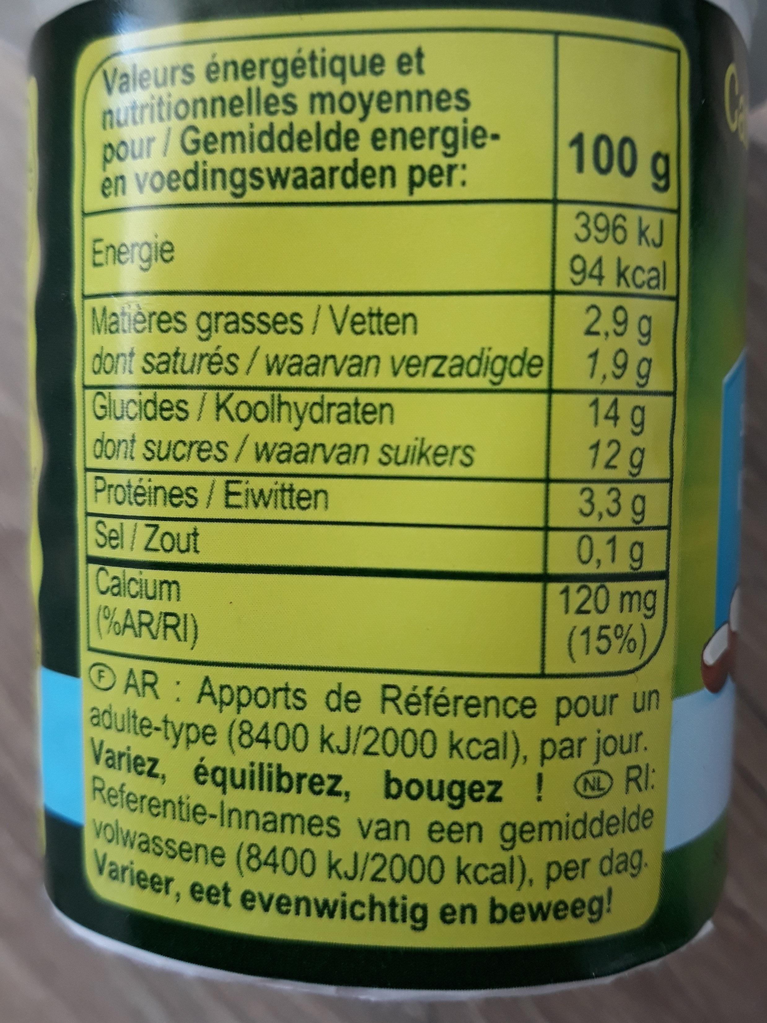 Au Bifidus, Parfum coco - Nutrition facts - fr