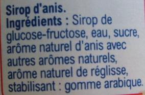 Sirop ANIS - Ingrediënten - fr