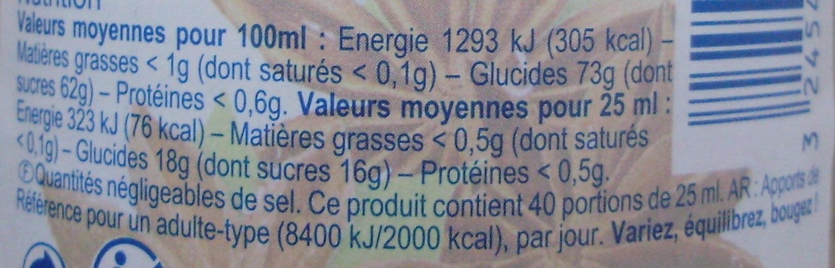 Sirop ANIS - Nutrition facts - fr