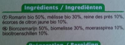 Infusion 4 plantes Romarin, Mélisse, Reine des prés, Citron - Ingrediënten