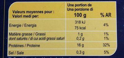 Coeurs De Filets De Merlu Blanc Du Cap, - Informations nutritionnelles - fr