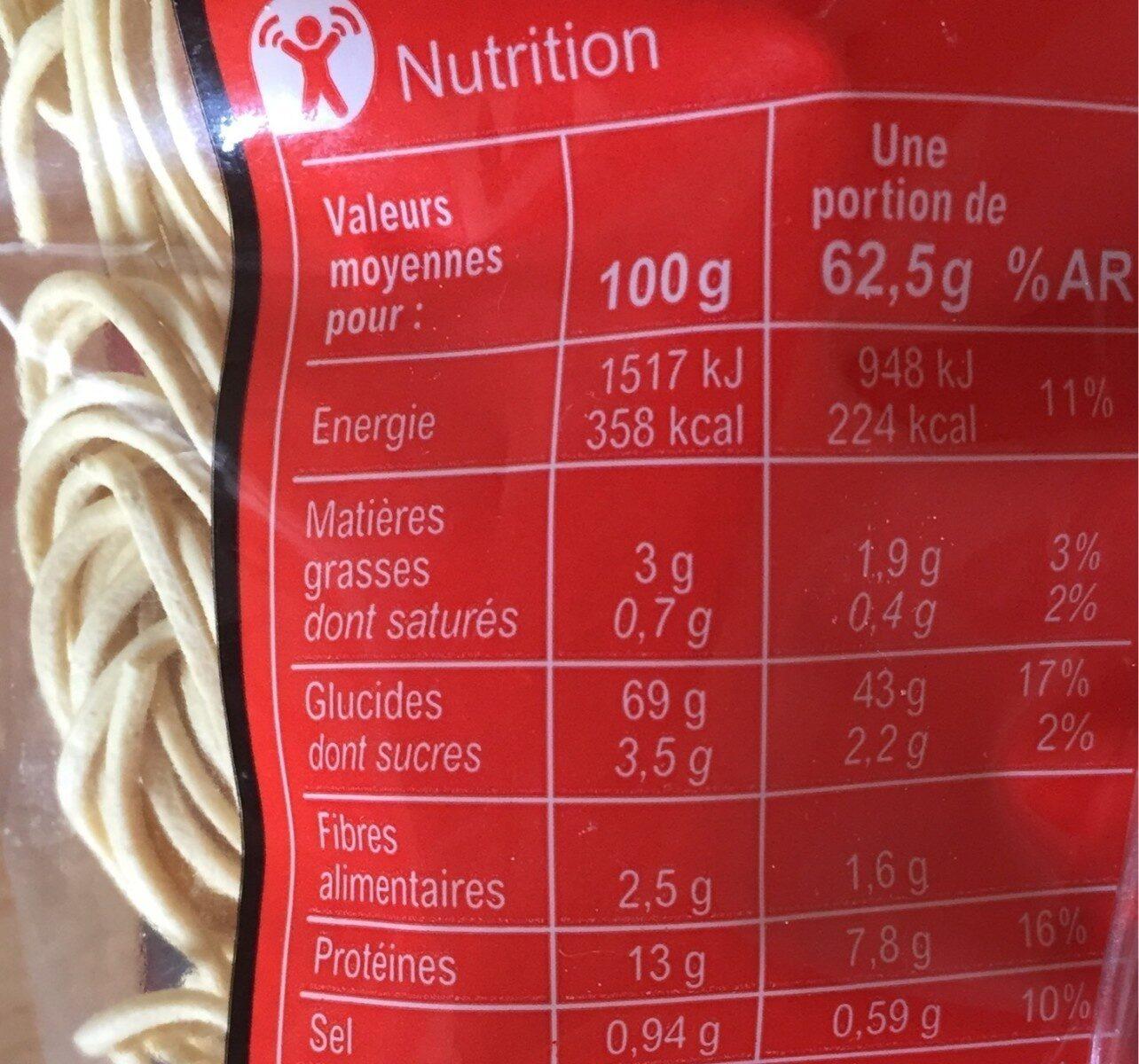 Nouilles Chinoises à la farine de blé tendre - Nutrition facts - fr