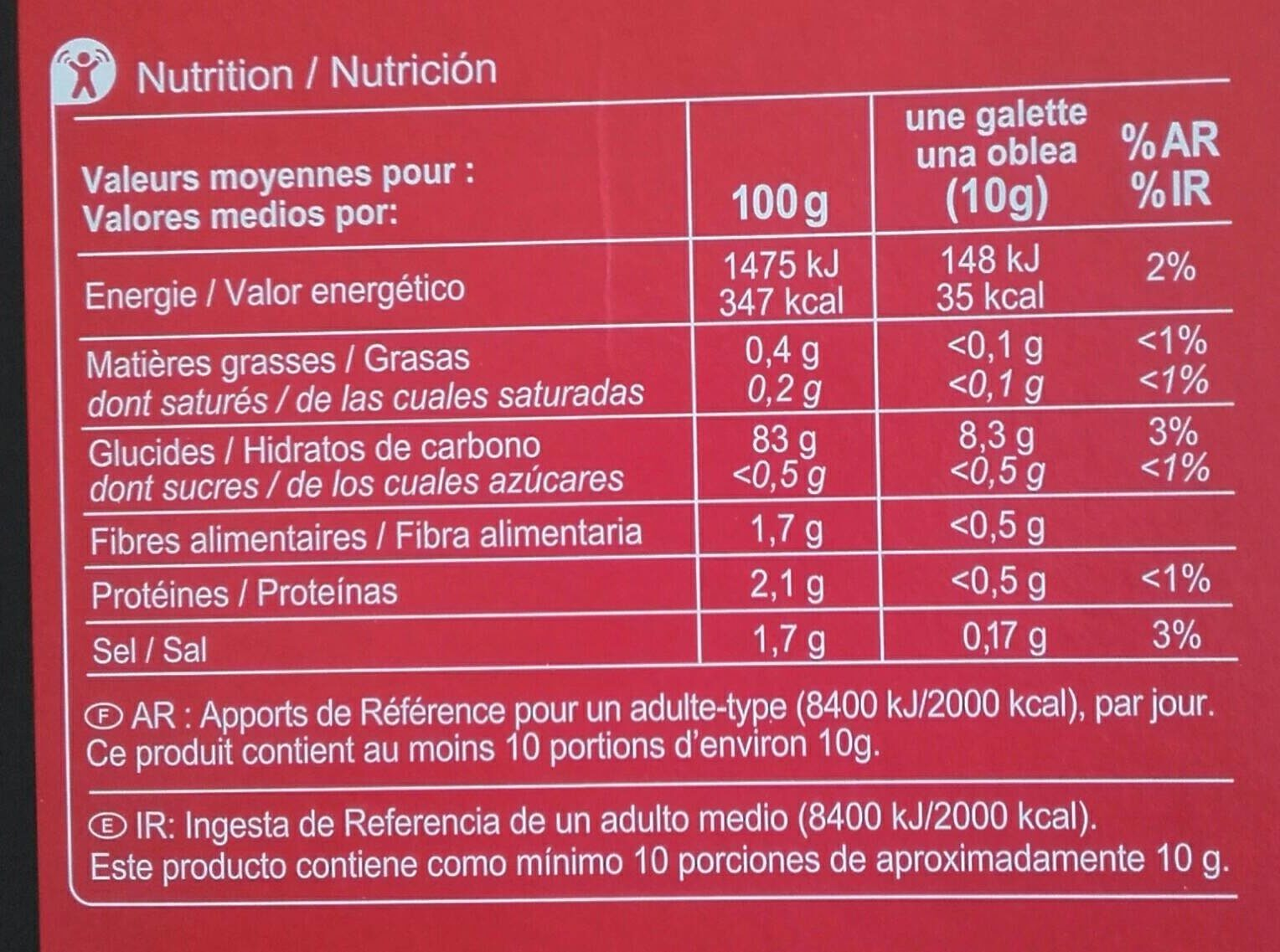 Galettes de Riz - Voedingswaarden - fr