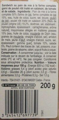 Maxi Poulet Crudités - Informations nutritionnelles - fr