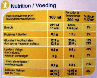 100 % Pur Fruit Pressé, Jus de raisin, de cranberry et purée de framboise - Informations nutritionnelles