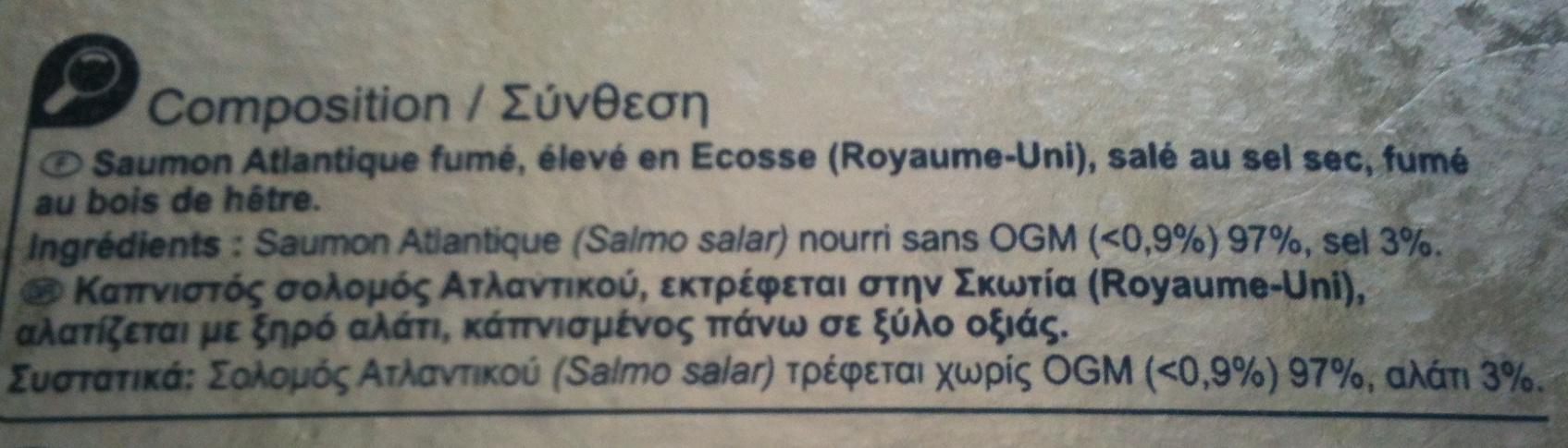 Saumon Atlantique fumé, élevé en Écosse (Royaume-Uni), salé au sel sec, fumé au bois de hêtre. - Ingrediënten - fr