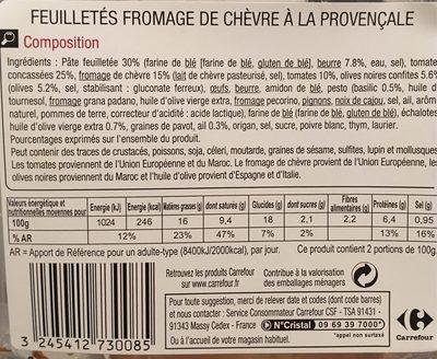 Feuillete fromage de chevre a la provencale - Nutrition facts