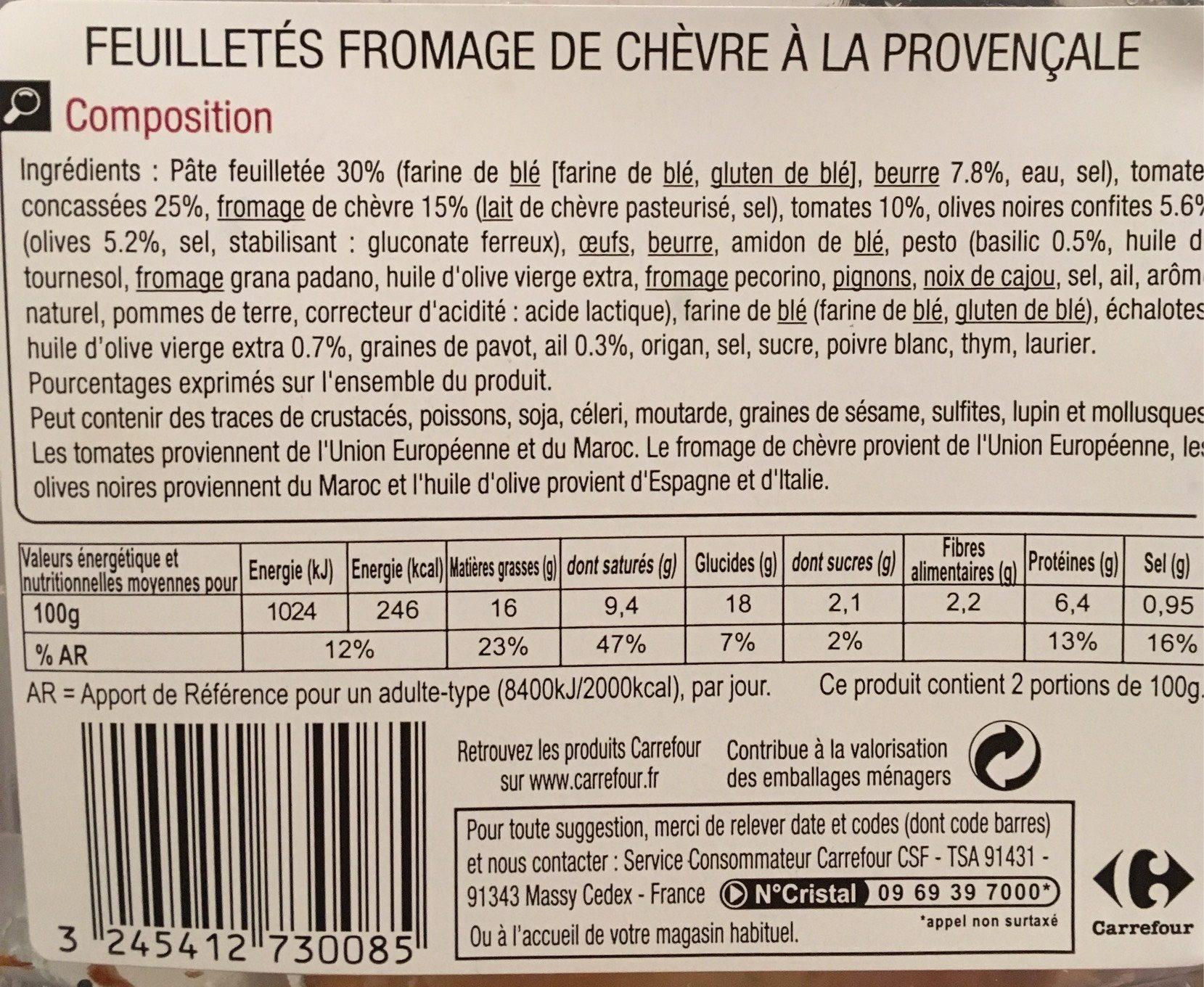 feuillete fromage de chevre a la provencale - carrefour