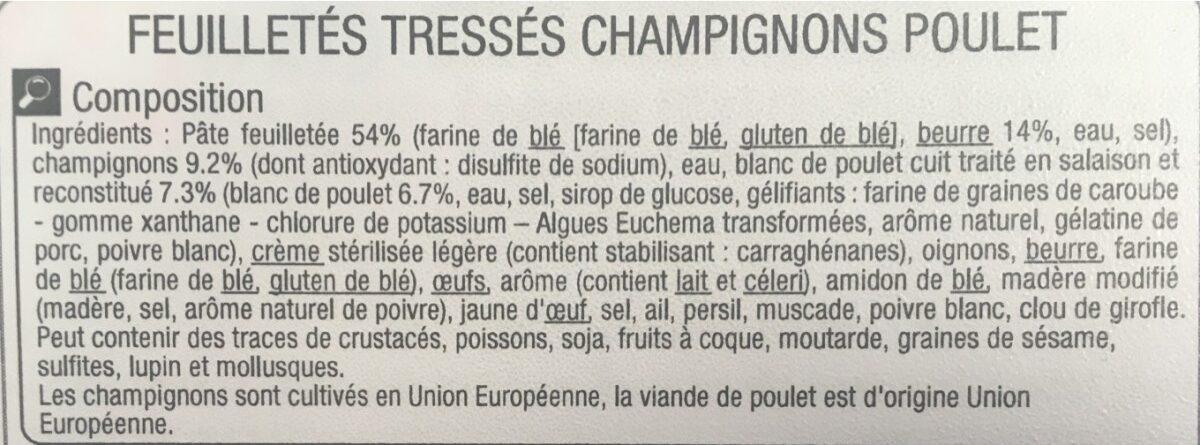 Feuilletés tresse poulet champignons - Ingrédients - fr