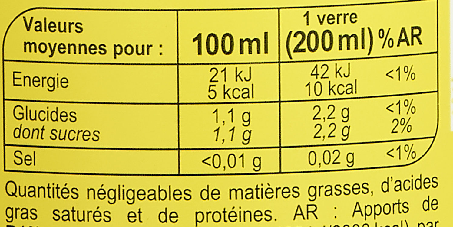 Pulp'saveur orangelight* - Informations nutritionnelles - fr