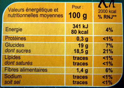 Pomme  Banane Dessert de fruits - Informations nutritionnelles