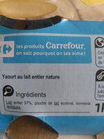 Yaour nature au lai entier - Ingrédients - fr